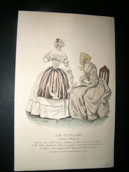 Le Follet C1850's Hand Coloured Fashion Print 941 | Albion Prints